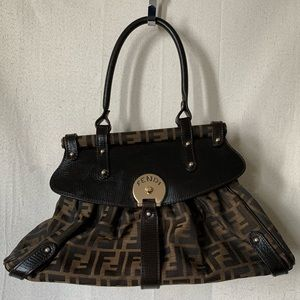 Fendi Tobacco Zucca MagicBrown Leather ShoulderBag